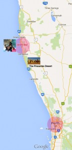 Perth to Skydive Jurien Bay map